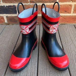 Fireman Fire Dept Little Boy Rain boots SZ 2/3 XL